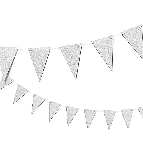 Silver Party Banner Triangle Garland - Vintage Elegant Party Supplies Bunting Flags Decorations for Birthday Parties, Weddings, Baby Showers - Size Small - 3.75 x 5.5 inch Flags, 10 Ft Length
