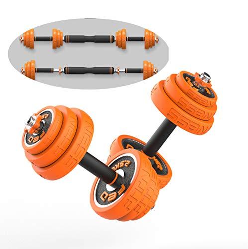 2 in 1 Halters & Barbell set, 20 kg Verstelbare Dumbbells Gewichten Set, Gietijzeren Materiaal met Rubberen Bekleding om…