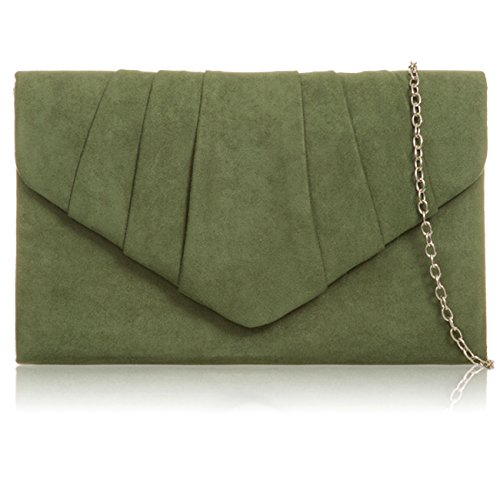 Xardi London - Clutch in finta pelle scamosciata Moss Green