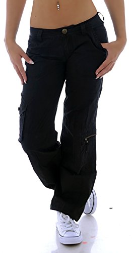 Damen Cargohose Stoffhose Cargo Hose Hüfthose Jeans in Schwarz S 36 M 38 L 40 XL 42 XXL 44