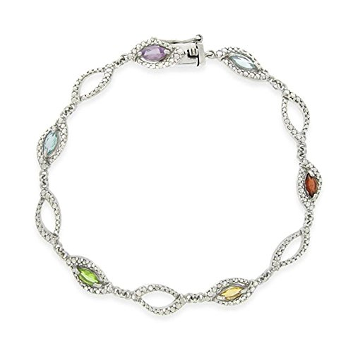 Sterling Silver Multi Gemstone & Simulated Diamond Link Bracelet (Gemstone Simulated Multi)