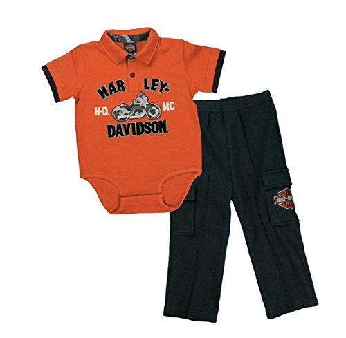 Barnett Harley-Davidson Harley-Davidson Baby Boys' 2 Piece Interlock Creeper & Woven Pant Set (12M)