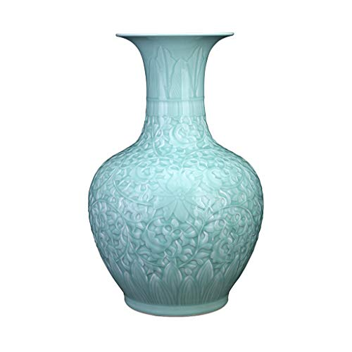 Vase DIOE Jingdezhen Ceramic Jade Bottle, Floor Flower Arrangement, Simple Living Room Bedroom Decoration Art, Hand-Carved,