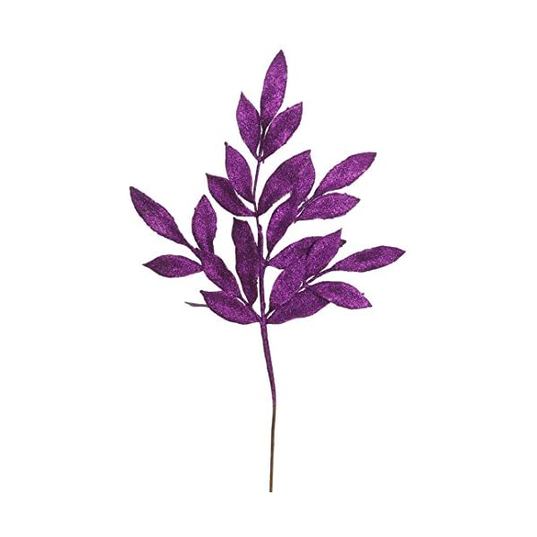 Vickerman Glittered Bay Leaf Spray in 12/Bag, 22″, Purple