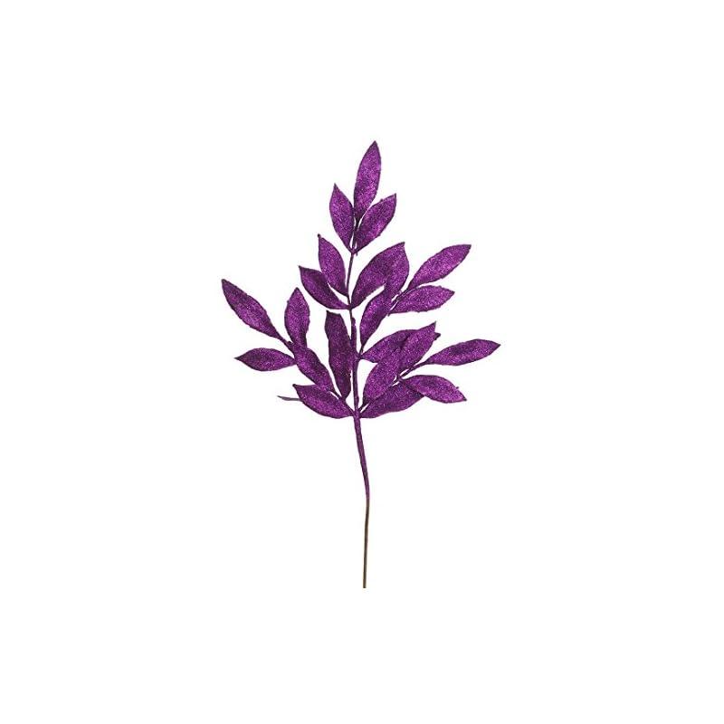 "silk flower arrangements vickerman glittered bay leaf spray in 12/bag, 22"", purple"