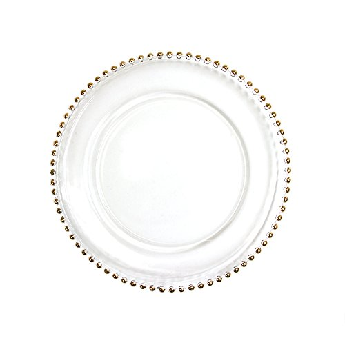 Koyal Wholesale 424658 Clear Glass Beaded Couture Charger Plates, Gold, 4-Pack Round 13-Inch Party Plates