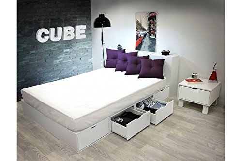 ABC MEUBLES - Bett 140 x 200 Boxen mit Schubladen - LITCUBLB - Blanc, 140x200