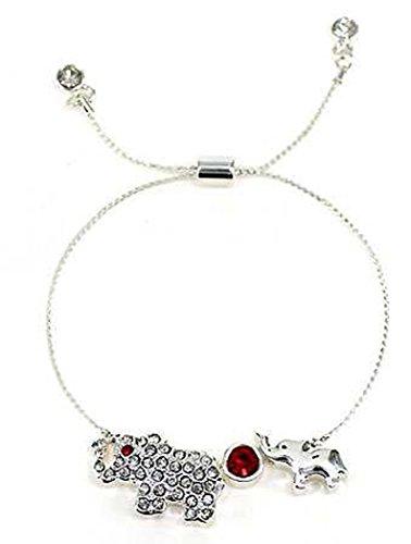 er & Baby Elephant Crystal encrusted Crystal Sliding Knot Adjustable Bracelet (Crystal Mother Elephant)