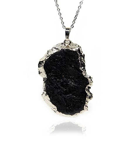 Gemstone Natural Black Tourmaline Pendant Necklace 18""
