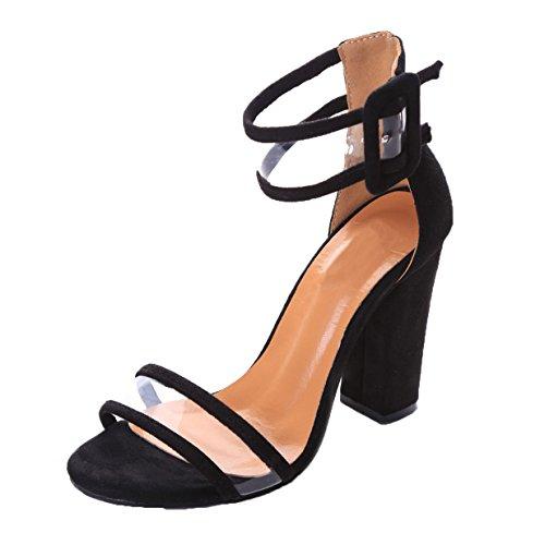 Lalang Damen Transparente Knöchelriemen Stilettos Sandalen Womens High Heels Schuh Schwarz