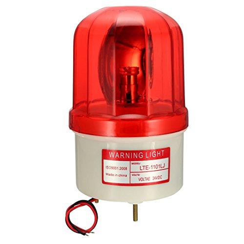 uxcell LED Warning Light Bulb Rotating Flashing Signal Alarm Lamp Buzzer 90dB DC 24V Red LTE1101LJ ()
