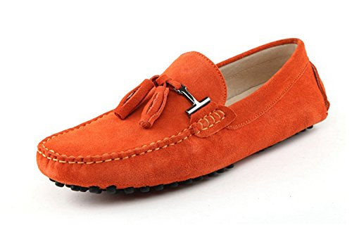 Minitoo Men's Driving Herren Slipper, Veloursleder, Tassel Penny Boat, Schuhe Orange