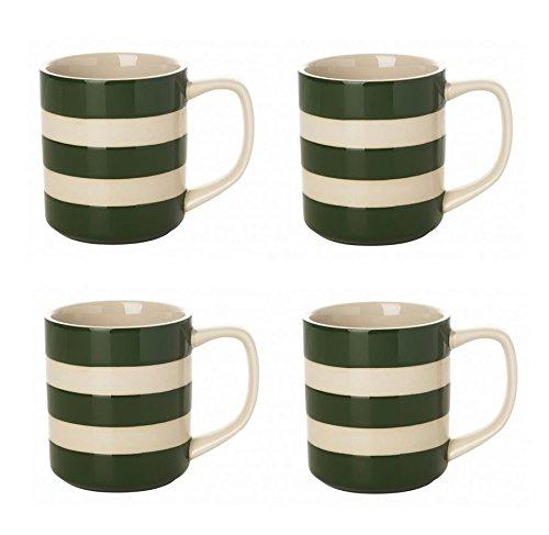 Cornishware Adder Green and White Stripe Set of 4 Coffee Cups Mugs, 10oz