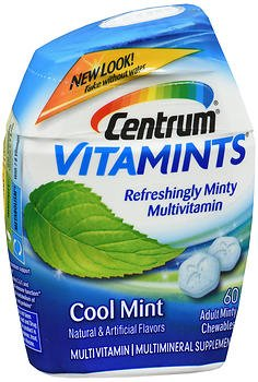 Centrum VitaMints Multivitamin/Multimineral Supplement Adult Chewables Cool Mint – 60 ct, Pack of 3