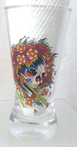 Ed Hardy Skull/Flowers Large Shot Glass, Love Kills Slowly Large Shot Glass, Skull/ Flowers Shot - Hardy Glass