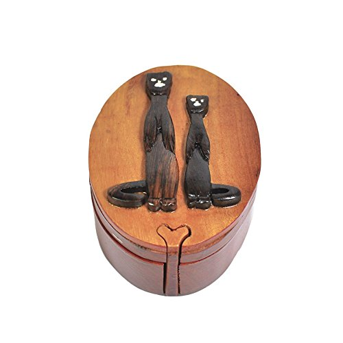 Handmade Wooden Art Intarsia TRICK SECRET Cheetah 2 Africa Jewelry Puzzle Trinket Box (4471) (g3)