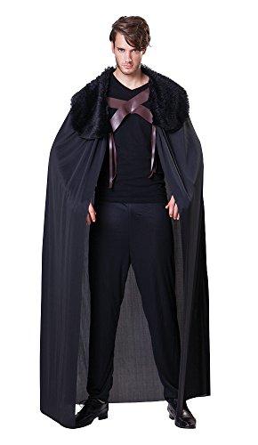 Bristol Novelty AC061 Men's Black Cape with Fur Collar (One Size)