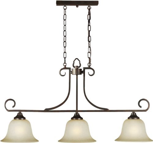Forte Lighting 2440-03-32 Traditional 3-Light Island Pendant with Umber Mist Glass, Antique Bronze Finish