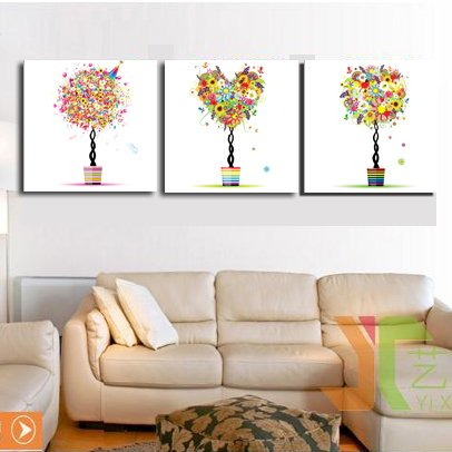 Rainbow Coulour Happy tree Abstract Tree Wall Decorative Canvas Print Set Of 3 UNFramed