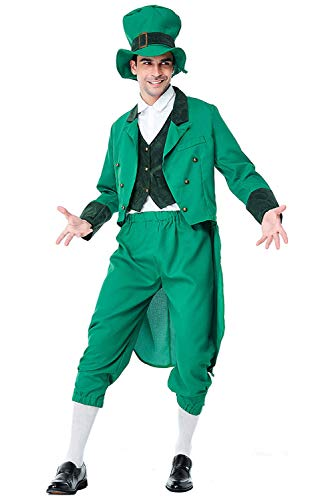 (Adult Green Elf Costume Irish Goblin Costume Saint Patrick's Day Cosplay Suit Tailcoat)