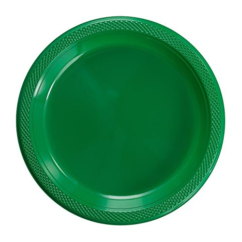 Exquisite Plastic Dessert/Salad Plates - Solid Color Disposable Plates - 100 Count (7 Inch, Emerald -