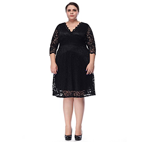 ESPRLIA Womenu0026#39;s Plus Size Short Sleeves Formal Cocktail Lace Dress Size 1X-5X | Plus Size For ...