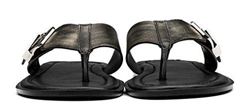 OPP Men's Classic Leather Anti-Skidding Flip-Flops Slippers Bronze 7F3I7kFx9D