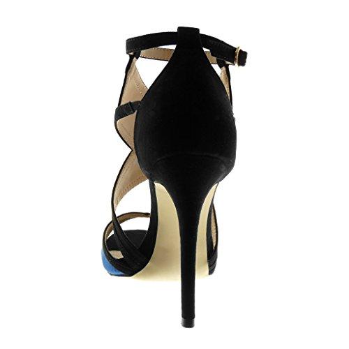 Angkorly Women's Fashion Shoes Sandals Pump Court Shoes - Stiletto - Peep-Toe - Ankle Strap - Bicolour - Thong Stiletto High Heel 11.5 cm Blue SjYRVf