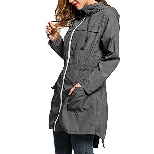 ZFFde Invierno Chaqueta de lluvia con capucha impermeable de la manga larga de las mujeres Chaqueta de bolsillo larga al aire libre que va de excursión (Color : Gray, tamaño : XL)
