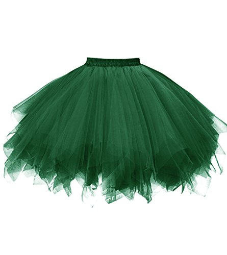 Dresstore Women's Short Vintage Petticoat Skirt Ballet Bubble Tutu Multi-colored Black Green S/M]()