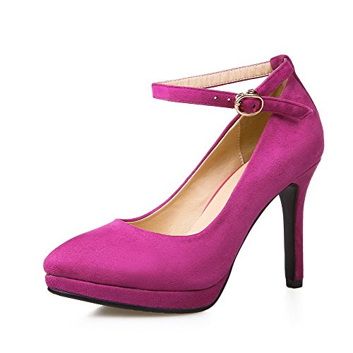 VogueZone009 Women's Solid Pu Pumps-Shoes with Metal Buckles and Buckle, Rosered, - Warehouse Wiki Fashion