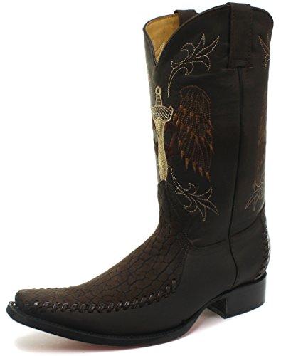 Uomo Marrone Grinders 43 Taglia Western Cowboy Kansas Pelle Stivali 5nnFxw4PSq