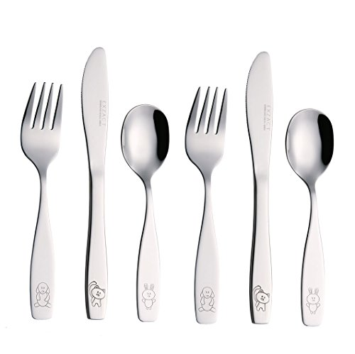 Exzact Children's Flatware 6pcs Set - Stainless Steel Cutlery/Silverware - 2 x Forks, 2 x Safe Dinnerknife, 2 x Dinner Spoons - Dog Cat Bunny Design