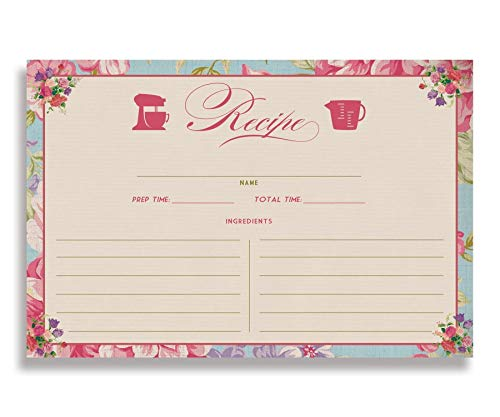 Floral Recipe Cards (Set of 25) 4x6 inches. Double Sided Card Stock Recipe Card Set | Jackie Blue Rose
