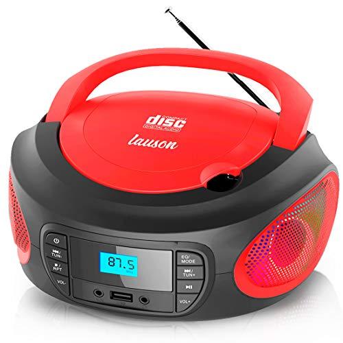 Lauson LLB996 Draagbare CD-Speler Multicolor LED-Verlichting, Digitale FM-Radio en LCD-Scherm | USB-Speler Speelt MP3…