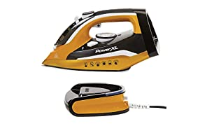 PowerXL Cordless Iron and Steamer, 1400W Iron with Ceramic Soleplate, Vertical Steam, Anti-Calc, Anti-Drip, Auto-Off, Power Base, Ironing Board Cover and Pad – Gold