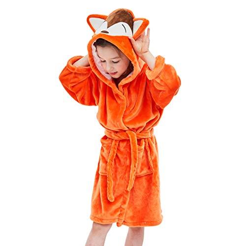 - IDGIRLS Kids Animal Hooded Soft Plush Flannel Bathrobes for Girls Boys Sleepwear Orange Fox L