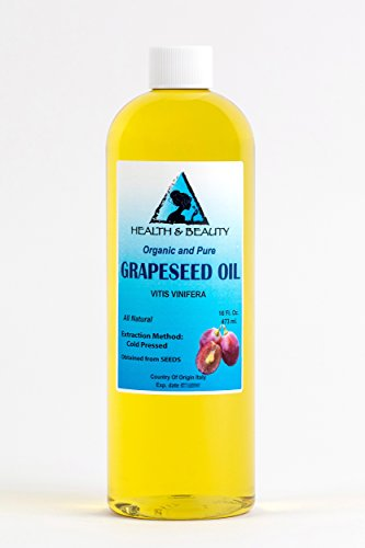 Grapeseed Oil Organic by H&B OILS CENTER Cold Pressed Premium Quality Natural 100% Pure 16 oz ()