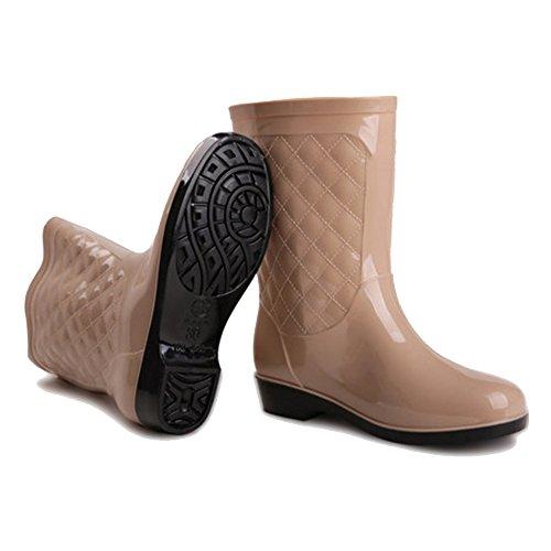 Women's rain boots sexy Rain Boots Female Fashion Tube Adult Boots Ms. Shoes Fishing Shoes Warm Water Shoes Anti-slip Rubber Shoes (Color : 01, Size : EU37/UK4.5-5/CN37) 01