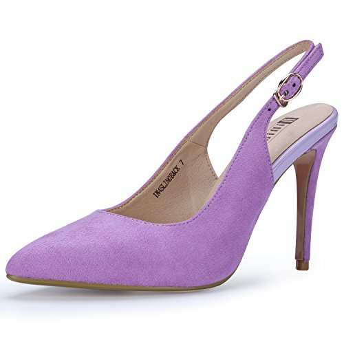 IDIFU Women's IN4 Slingback Pointed Toe Ankle Strap Stiletto High Heel Dress Pump (Lavender Suede, 8.5 B(M) (Lavender Dress Shoes)
