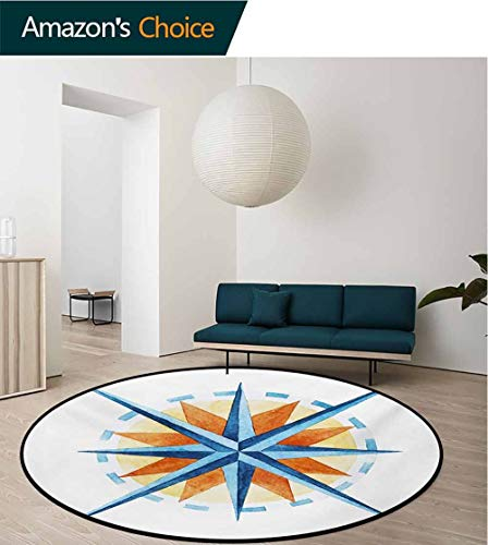 RUGSMAT Compass Modern Machine Round Bath Mat,Watercolor Directions North South East West Windrose Pathfinding Work of Art Non-Slip No-Shedding Kitchen Soft Floor Mat,Diameter-55 Inch