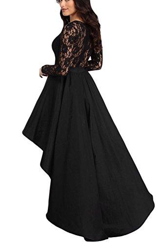 Bdcoco Dentelle Vintage Femmes Manches Longues Haut Bas Robe De Cocktail Noir
