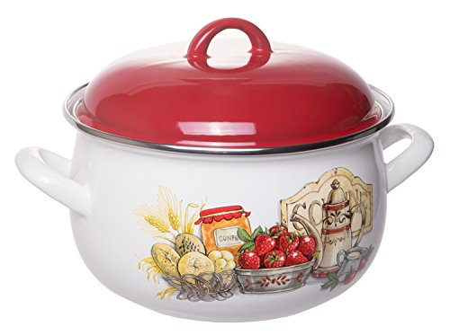 Enamel On Steel Round Covered Stockpot, Pasta Stock Stew Soup Casserole Dish with Red Lid, Up to 4 Quarts - 20 cm (Enamelware Stock Pot)