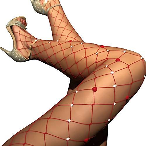 TGD Women's Rhinestone Fishnet Tights Suspender Pantyhose Thigh High Stockings (W41 Red) -