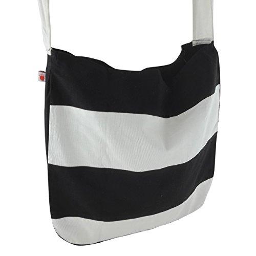 inhoma Borsa da spiaggia Borsa a tracolla borsa a spalla in stile tote bag | | | Stripes Nero Bianco | Tote Bag stile | 130cm lunga tracolla | 45x 40cm | 12litri | inhoma24WOW Shopper | 100% coto