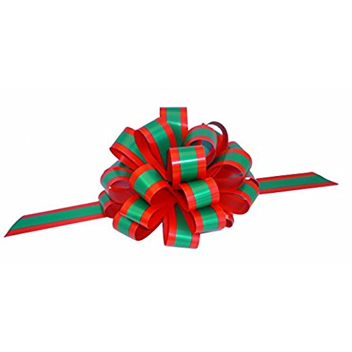 "Red and Emerald Green Striped Pull Bows with Tails - 8"" Wide, Set of 6, Christmas Ribbon for Gifts"