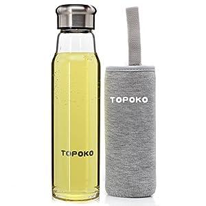 Stylish Thick Borosilicate Glass Water Bottle With Nylon Handle Sleeve -18.5oz- GREY