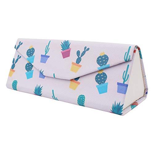REAL SIC Cactus Glasses Case - Leather Magnetic Folding Hard Case - Cute Succulent Theme Designer Foldable Case for Eyeglasses, Sunglasses & Reading Glasses (Potted ()