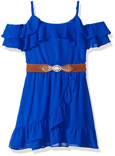 Front Dress Ruffle (Amy Byer Girls' Big Cold-Shoulder Ruffle Front Dress, neon Cobalt, 8)