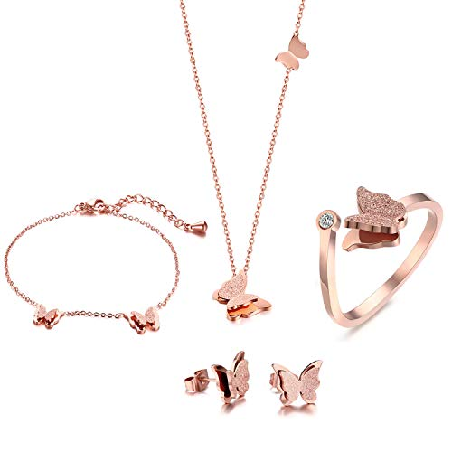 VNOX Butterfly Matte Finish Rose Gold Plated Stainless Steel Bracelet Ring Necklace and Stud Earrings Jewelry Set for Women (Set Jewelry Butterfly Gold)